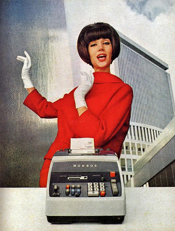 Monroe Adding Machine advert of un-known vintage